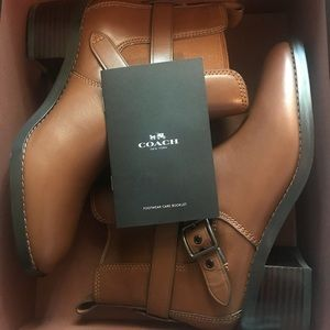 New Coach Leather Chelsea Bootie In Dark Brown